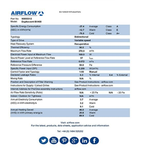 airflow bv400 erp product fiche