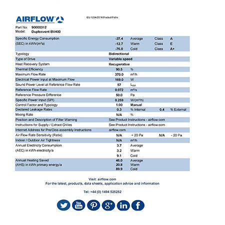airflow bv400 erp product fiche