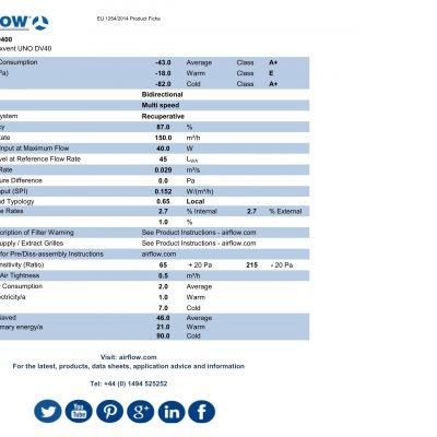 airflow duplexvent uno dv40 erp product fiche