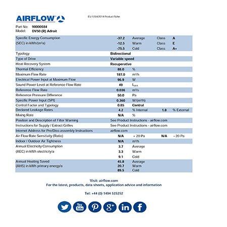 airflow dv 50 erp product fiche