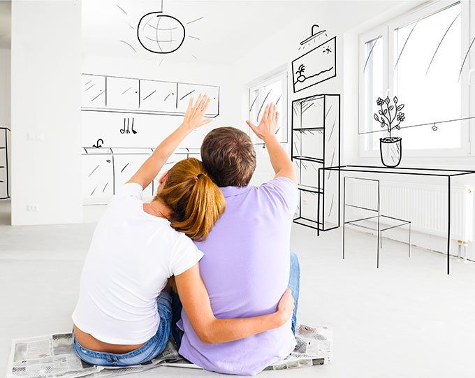 Couple imagining their house how they want it